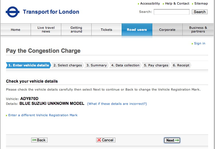 Congestion Charge - Car not recognised - Off Topic Discussion - 350Z