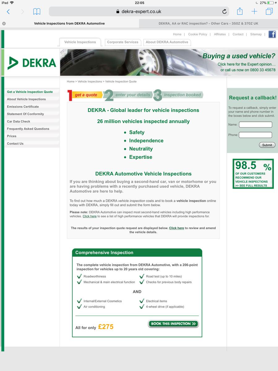 dekra aa or rac inspection other cars 350z 370z uk. Black Bedroom Furniture Sets. Home Design Ideas